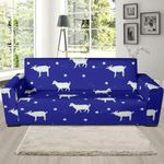 Deep Blue Goat Sheep Pattern Background Sofa Cover