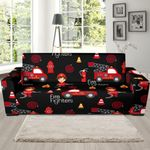 Red And Black Firefighter Background Sofa Cover
