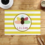 Turkey Yellow Striped Custom Name Printed Placemat Table Mat