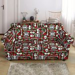 Red Leather And Skeleton Pattern Print Sofa Cover