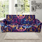 Hippie Music Van Peace Sign Pattern Background Sofa Cover