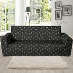 Black Leather And Futhark Viking Sofa Cover