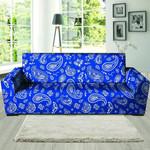 Blue Neon Bandana Pattern Print Sofa Cover