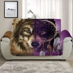 Brown And Purple Wolf Dreamcatcher Face Sofa Couch Protector Cover