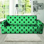 Green Leather And Black Polka Dot Print Sofa Cover