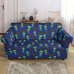 Alien Green Ufo Space Pattern Sofa Cover
