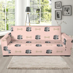 Pink Dog Puppy Schnauzer Pattern Background Sofa Cover