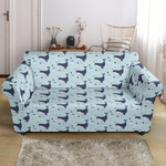 Whale Cute Blue Ocean Pattern Sofa Cover