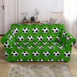 Soccer Ball All Green Background Pattern Sofa Cover