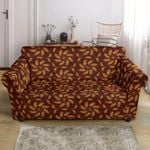 Agricultural Brown Wheat Pattern Maroon Theme Sofa Cover