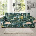 Dino Dinosaur Flower Leaf Pattern Background Sofa Cover