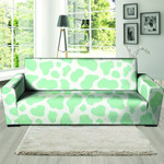 Teal And White Cow Powerful Sofa Cover