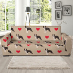 Boston Terrier Heart Paw Pattern Background Sofa Cover