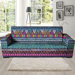Multicolor Native Aztec Trippy Striped Print Sofa Cover