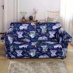 Koala Blue Themed Cute Pattern Sofa Cover
