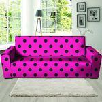 Black Polka Dot Print Pink Sofa Cover