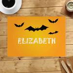 Bat Flying Orange Custom Name Printed Placemat Table Mat
