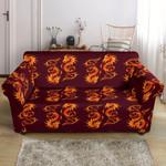 Dragons Fire Design Pattern Print Sofa Cover