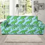 Watercolor T Rex Dinosaur Pattern Theme Sofa Cover