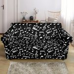 Music Note Black And White Pattern Sofa Cover