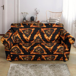 Eye Of Horus In Flame Pattern Sofa Cover