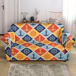 Nautical Orange Sea Anchor Pattern Sofa Cover