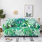 Green Leaf White Background Fresh Design Sofa Cover