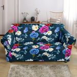 Floral Blue Themed Design Pattern Sofa Cover