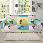 Watercolor Parrot Theme Sofa Cover