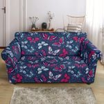 Red And White Butterflies Deep Blue Pattern Sofa Cover