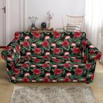 Flower Hawaiian Red Hibiscus Design Black Background Sofa Cover