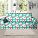 White Mama Bear Watercolor Sofa Cover