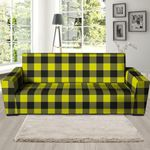 Yellow Plaid Background Sofa Cover