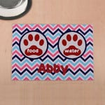 Custom Name Printed Placemat Table Mat Colorful Chevron Red Paw Print Pet