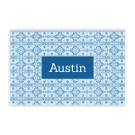 Blue Chinoiserie Pattern Custom Name Printed Placemat Table Mat