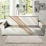 Brown Beige Marble Pattern Print Sofa Cover