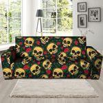 Dark Mexican Rose Skull Print Sofa Cover