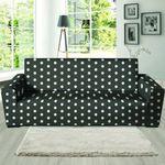 Black Leather And Tiny Polka Dot Sofa Cover