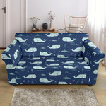 Narwhal Design Pattern Print Blue Sofa Cover