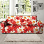 Red And White Hibiscus Hawaiian Realistic Sofa Cover