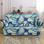 White And Blue Fern Leave In Summer Pattern Navy Background Sofa Cover