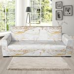White Gold Marble Pattern Sofa Cover