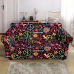 Peace And Love Sign Colorful Pattern Sofa Cover
