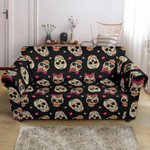Sugar Skull With Pink Heart Black Theme Sofa Cover