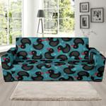 Black Duck Mallard Pattern Background Sofa Cover