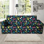 Multicolorful Dog Paw And Bone Print Sofa Cover