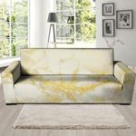 Gold Marble And Cream Skin Print Sofa Cover
