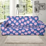 Blue Strawberry Pattern Background Sofa Cover