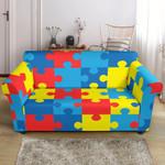 Autism Awareness Puzzles Cute Design Sofa Cover