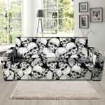 Skull White Colorful Theme Sofa Cover